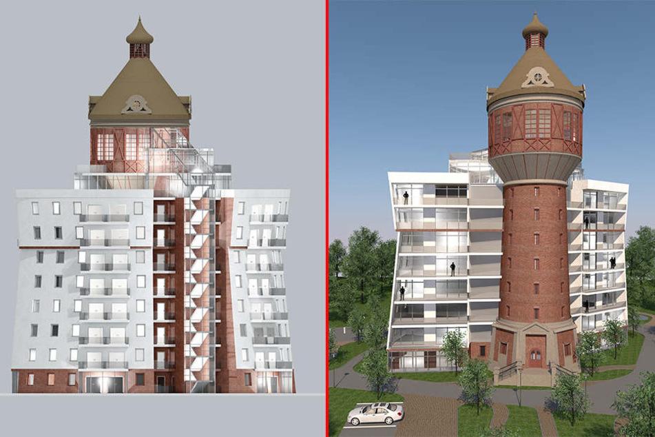 Der altehrwürdige Wasserturm soll um zwei Hotelflügel erweitert werden.