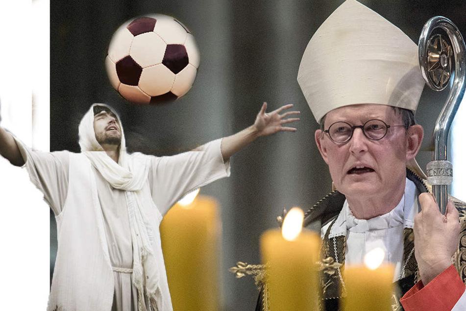 Der Kölner Erzbischof Woelki (r.) hofft auf den Fußball-Gott. (Fotomontage)