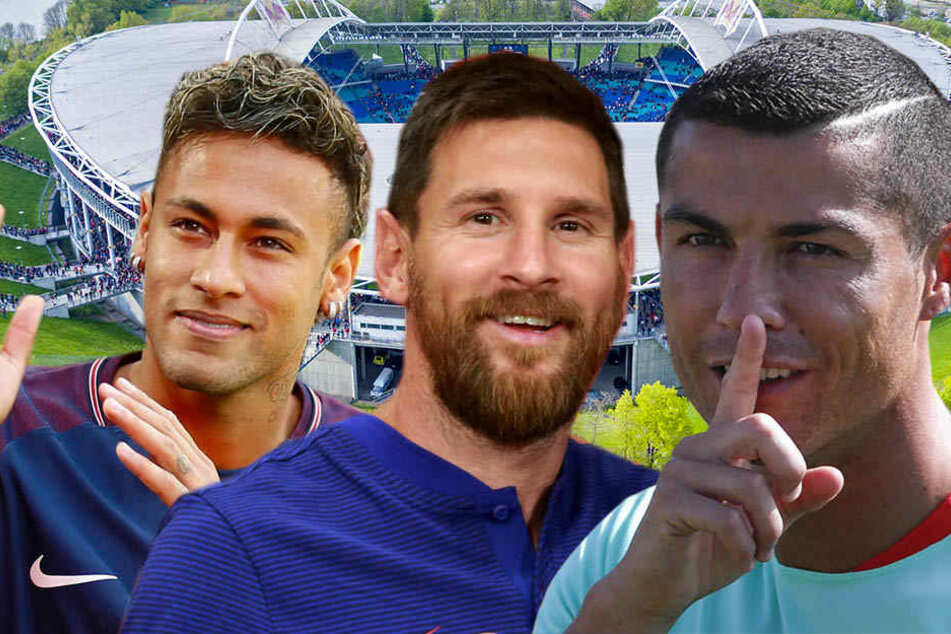 Neymar (l., Paris SG), Lionel Messi (M., Barcelona) oder Cristiano Ronaldo (Real Madrid): Bis zu zwei der drei Topstars könnten bald in Leipzig auflaufen.