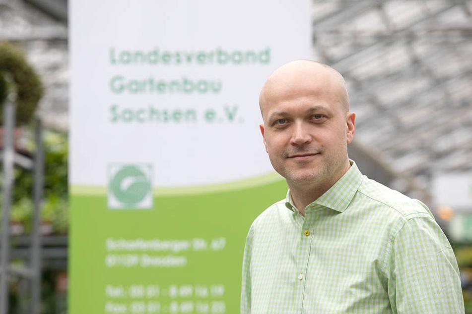 Glaubt fest an den Lenz: Tobias Muschalek (41), Chef vom Landesverband Gartenbau Sachsen.