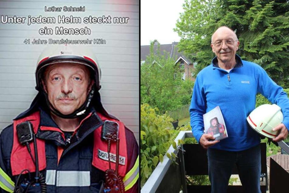 Autor Lothar Schneid zeigt sein Buch in seinem Garten bei Köln.
