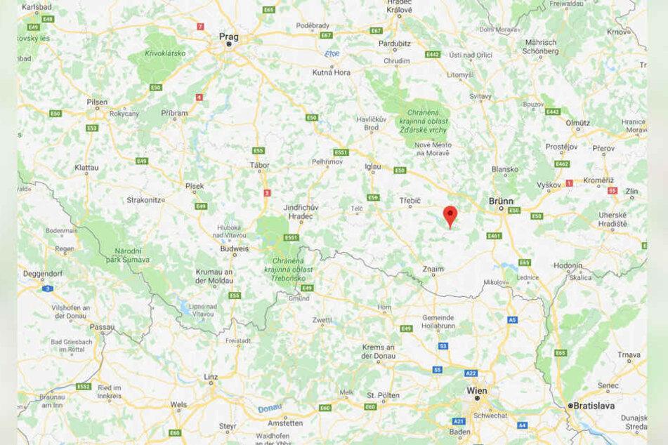 Dukovany liegt in der Nähe von Brünn, sowie der Grenze zu Österreich.