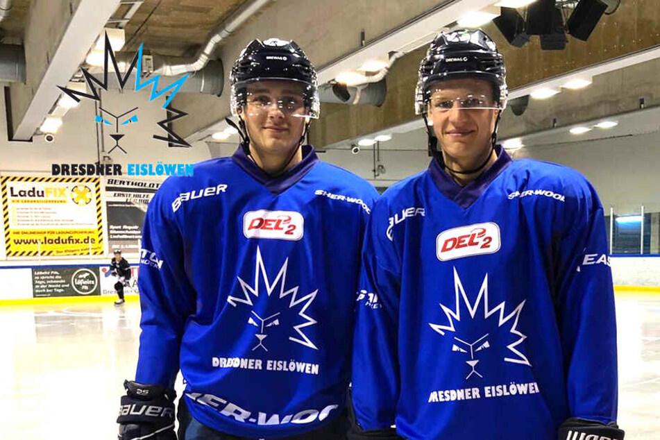 Arne Uplegger (l.) und Dominik Grafenthin Seite an Seite beim Eis-Training