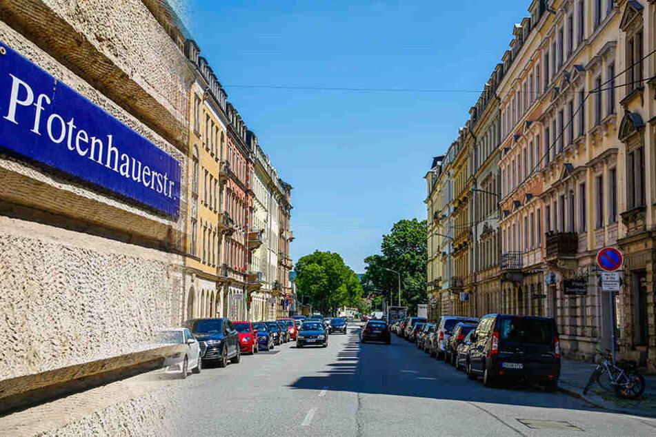 Blick Richtung Uniklinik: Die Pfotenhauer Straße in der Johannstadt.