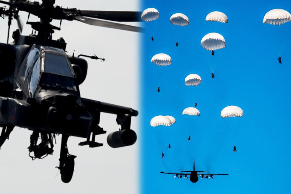 Kampf-Hubschrauber und Fallschirm-Jäger üben den Ernstfall