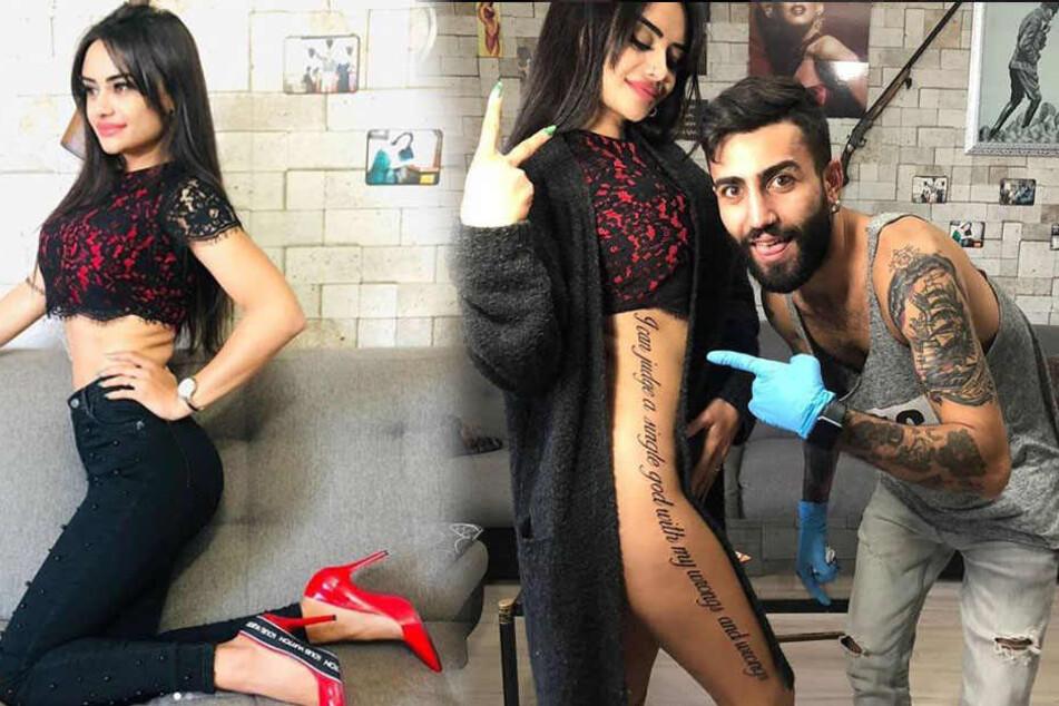 Da bemerkten Naz Mila und ihr Tätowierer den peinlichen Tattoo-Fail noch nicht.