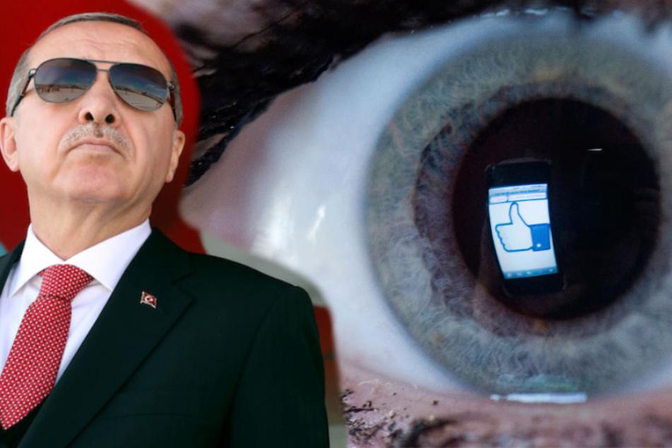 Der lange Arm des türkischen Präsident Recep Tayyip Erdogan (64) reicht bis ins Internet. (Bildmontage)