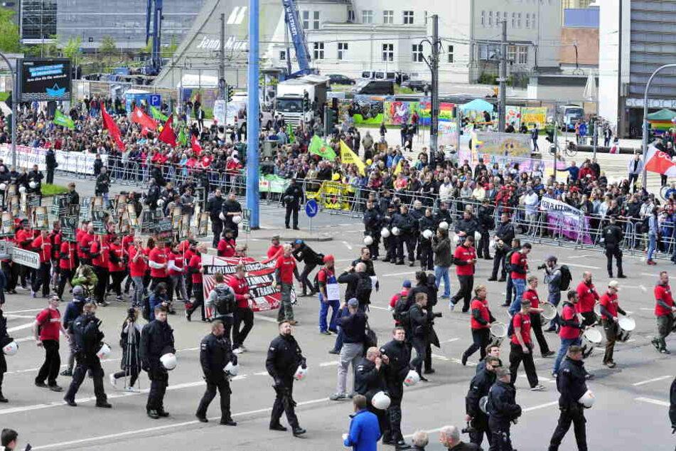 Am 1. Mai demonstrierte die rechte Partei der III. Weg in Chemnitz.