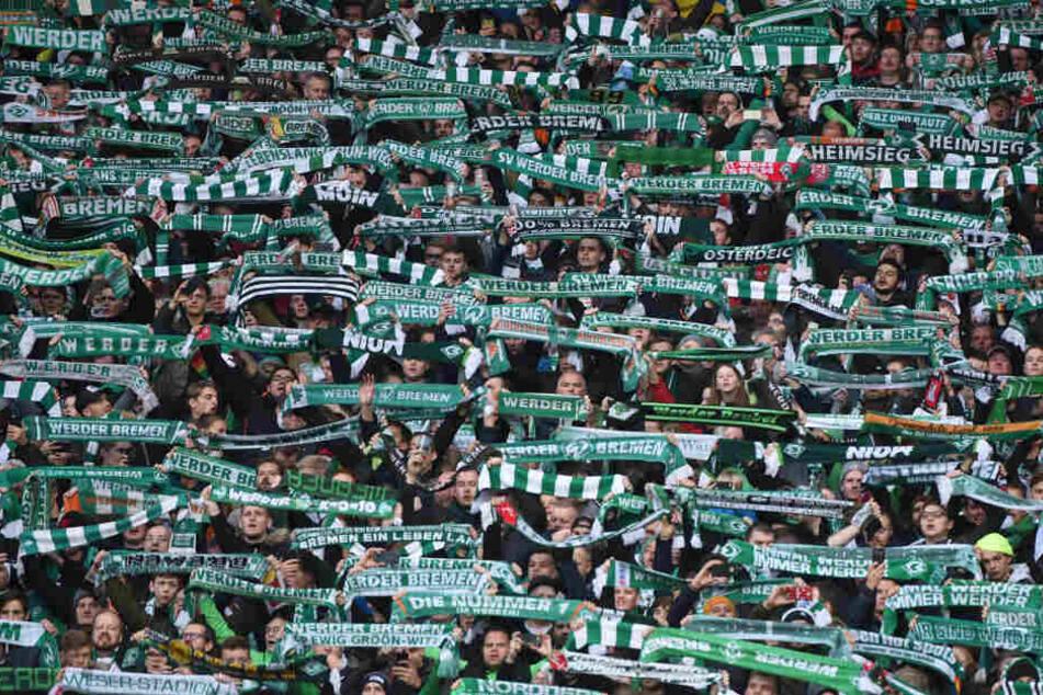 Zahlreiche Fans des SV Werder Bremen halten ihre Schals hoch.