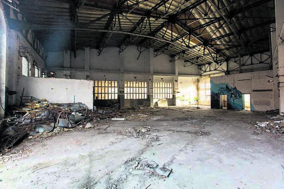 Das leerstehende Gebäude des ehemaligen Bahnbetriebswerks in Reichenbach bietet viel Fläche für mehr als 100 Künstler aus aller Welt.