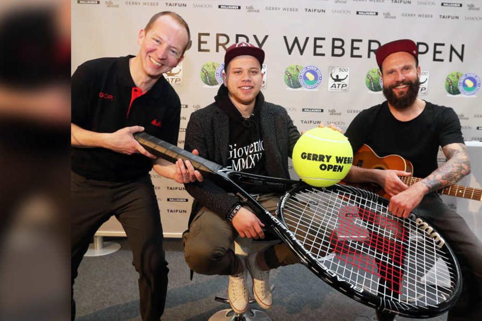 """Jongleur Hannes Neumann, """"The Voice""""-Sieger Tay Schmedtmann und Musiker Patrick Fa (von links) sind bei den Gerry Weber Open dabei."""