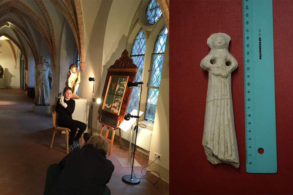 Die Tonfigur soll 500 Jahre alt sein. Calvin Päsler (12) aus Zittau hat sie gefunden.