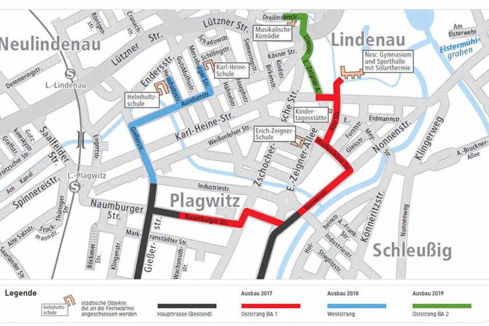 Bis 2019 wollen die Stadtwerke Plagwitz mit Fernwärme-Leitungen ausstatten. Dafür kündigt das Unternehmen umfangreiche Baumaßnahmen an.