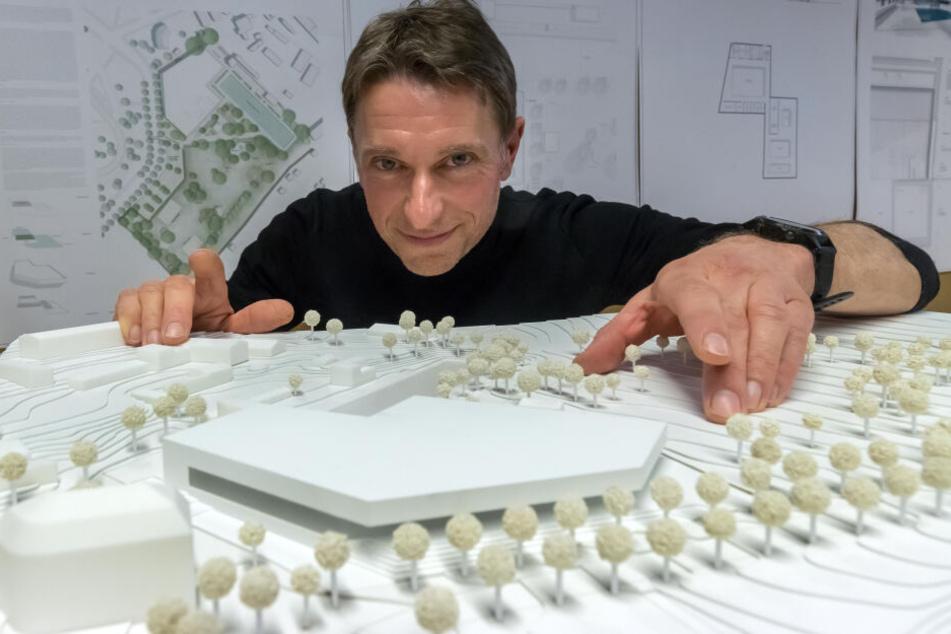 Der Entwurf von Architekt Martin Boden-Peroche für den Schwimmbadkomplex Bernsdorf bekam am Mittwoch grünes Licht.
