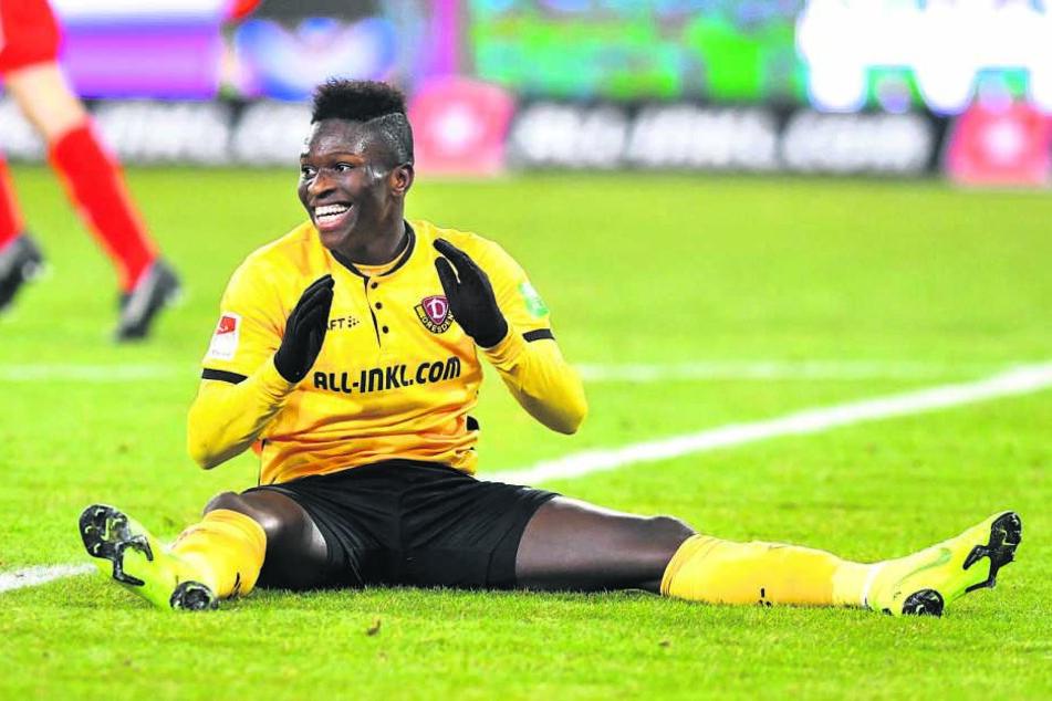 Moussa Koné bei seinem bislang letzten Treffer: Am 30. Januar traf der Senegalese zum zwischenzeitlichen 3:1 gegen Bielefeld. Am Ende stand eine 3:4-Niederlage zu Buche.