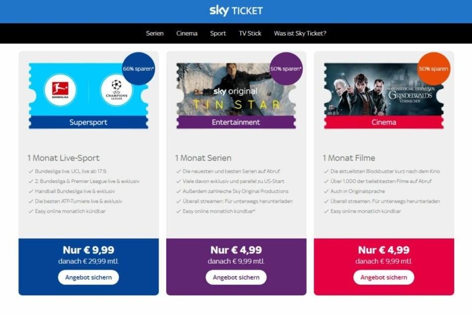 Das Angebot von Sky Ticket ist nach Serien, Filmen und Sport sortiert.