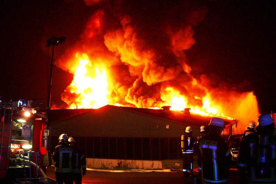 Millionenschaden bei Großbrand in einer Lagerhalle in Hüllhorst