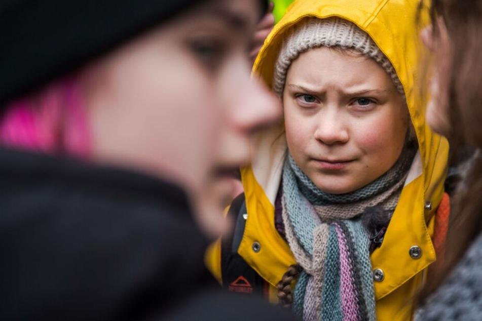 Greta Thunberg auf einer Demo im März 2019 in Stockholm.