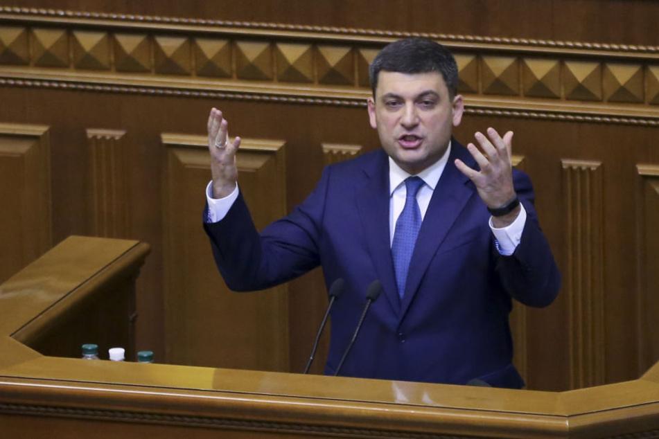 Wolodymyr Hrojsman, Ministerpräsident der Ukraine, während einer Parlamentssitzung.