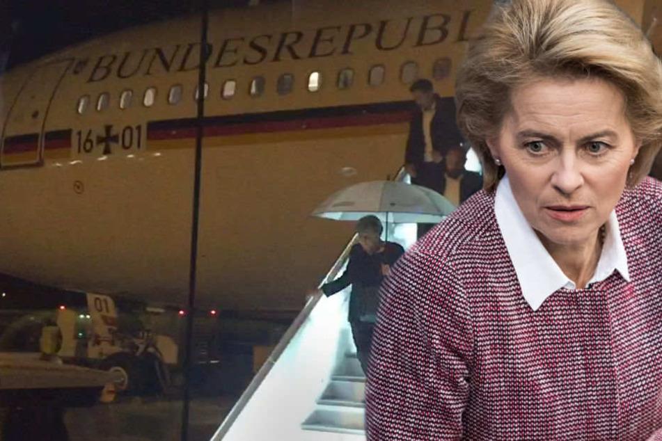 Ursula von der Leyen hat den Regierungsflieger in Schutz genommen. (Bildmontage)