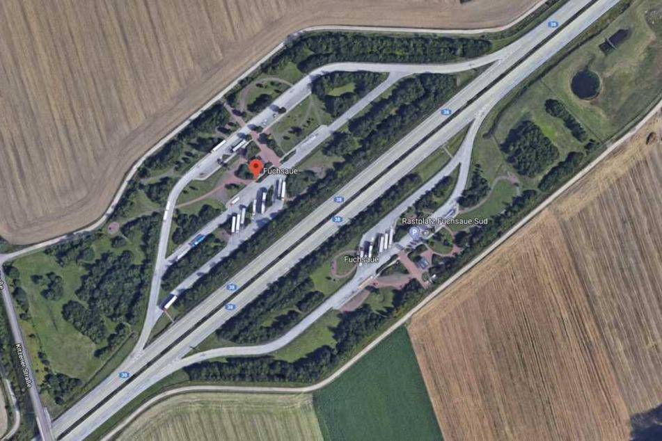 Der Rastplatz Fuchsaue an der A38: Hier starb am späten Freitagabend ein 56-jähriger Pole.