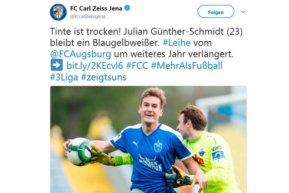 So feiert Jena die Verlängerung bei Twitter.