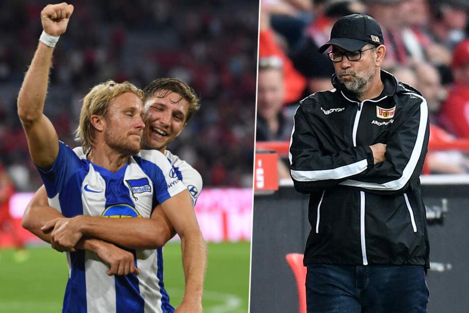 Verschiedene Stimmungslagen: Hertha BSC spielte 2:2 bei Bayern München, Union unterlag in der Alten Försterei RB Leipzig mit 0:4.