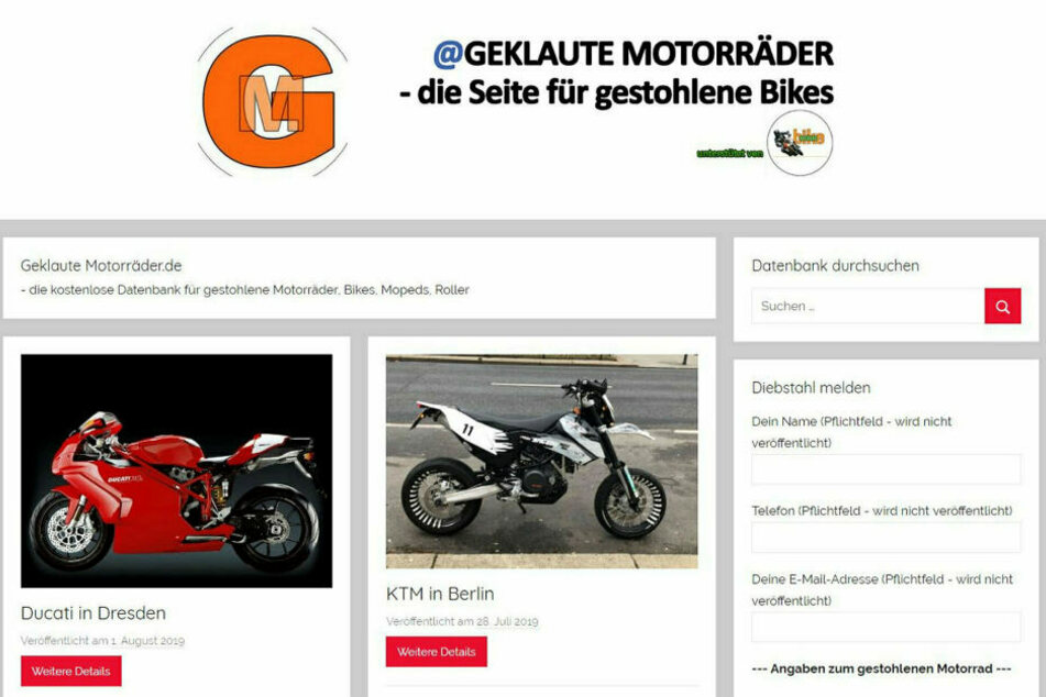 """Auf der privaten Fahndungsseite """"Geklaute-Motorraeder.de"""" wird jetzt auch nach der am Dienstag in Dresden gestohlenen Ducati (l.) gesucht."""