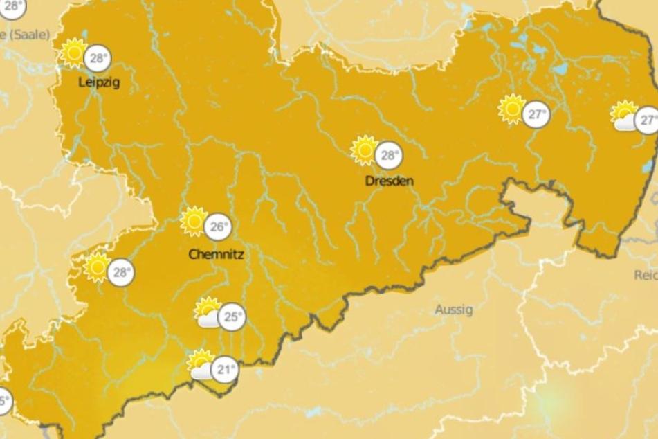 In ganz Sachsen wird es in den nächsten Tagen sonnig: In Chemnitz soll es 26 Grad heiß werden, in Leipzig und Dresden sogar 28 Grad.