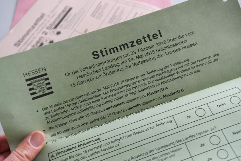 Der Stimmzettel für die Volksabstimmung im Rahmen der Landtagswahl.