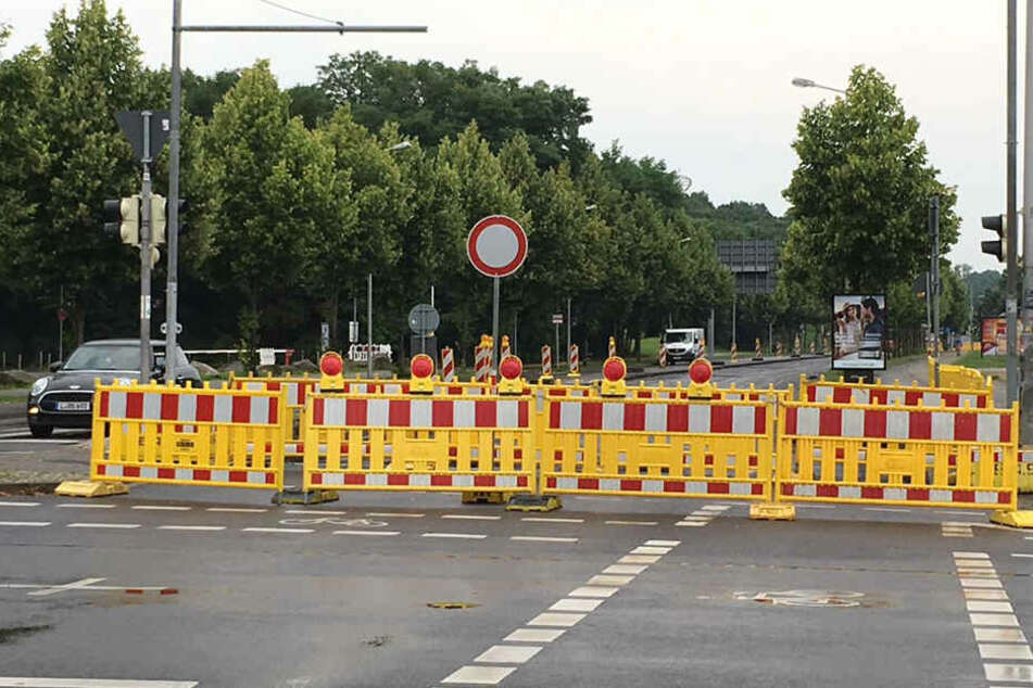 Stadtauswärts ist die Straße am Sportforum noch drei Wochen lang voll gesperrt.
