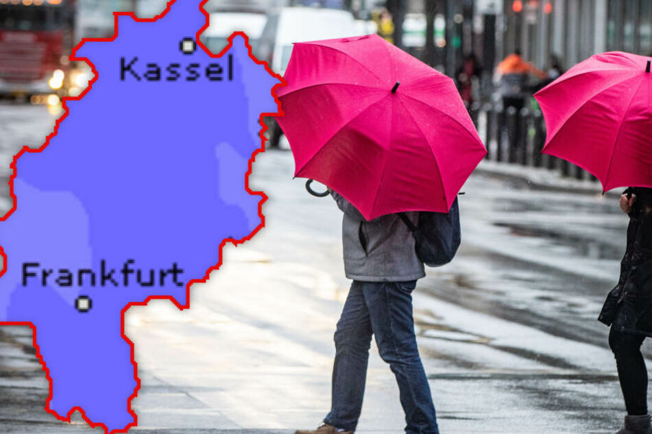 Fotomontage: Der Regenschirm sollte bei den Hessen in den kommenden Tagen keinesfalls fehlen (Symbolbild).