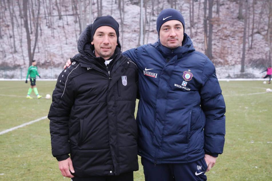 Im Januar beim Test gegen Fürstenwalde waren sie noch Gegner: Aues Cheftrainer Daniel Meyer (r.) und Bruder Andre. Ab sofort arbeiten sie Hand in Hand