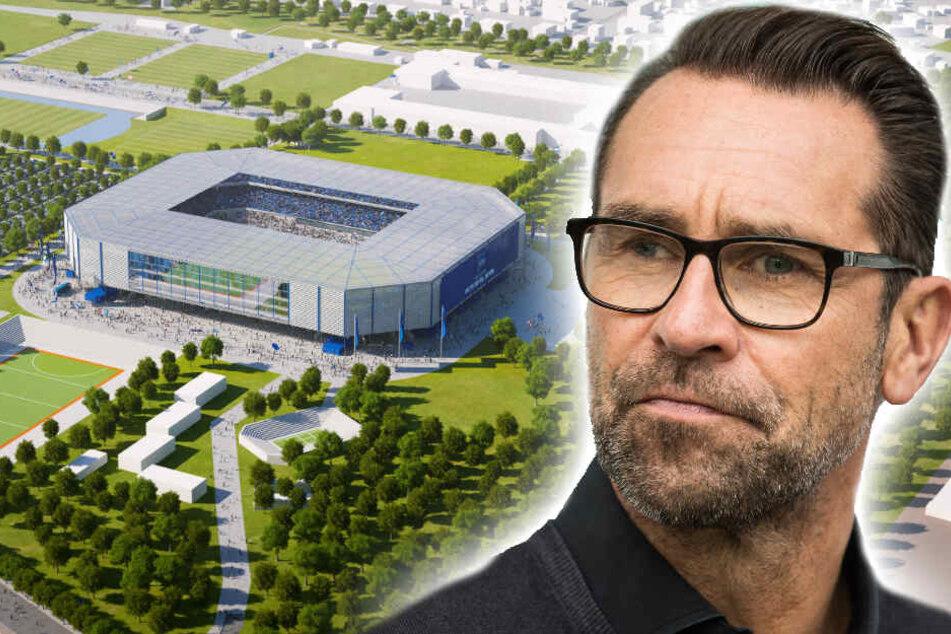 Hertha-Manager Michael Preetz will im Juli 2025 das erste Spiel im neuen Stadion austragen.