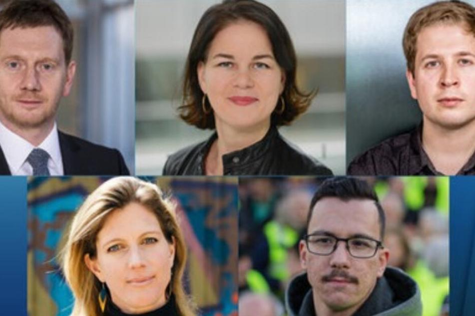 Die Gäste bei Anne Will (v. li): Michael Kretschmer, Annalena Baerbock, Kevin Kühnert, Maja Göpel und Ioannis Sakkaros.