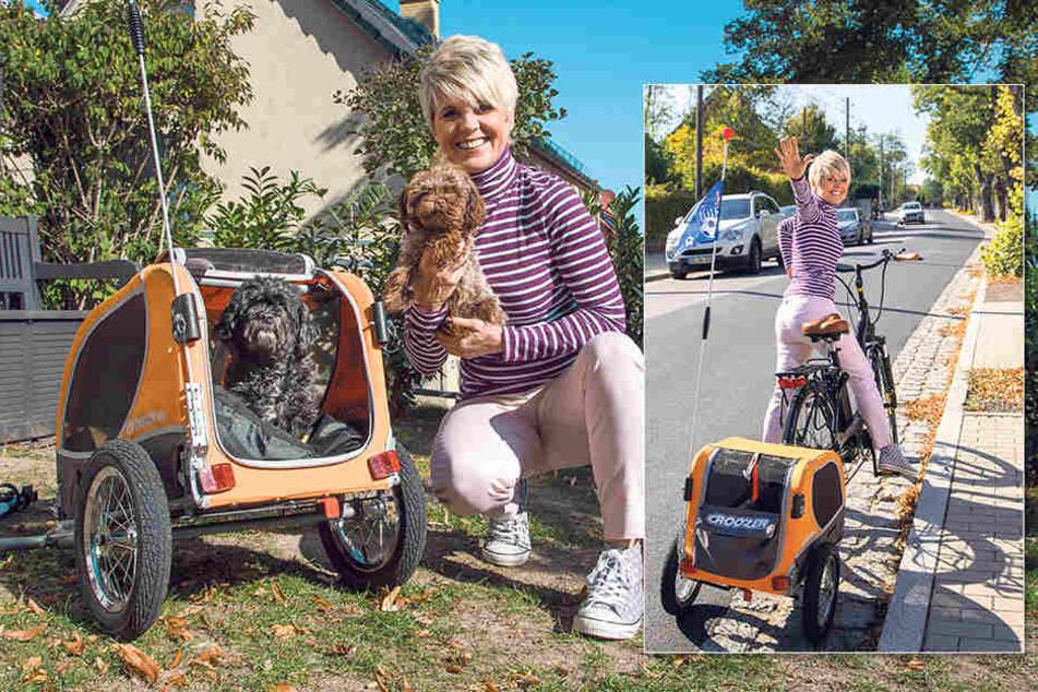 Es kann losgehen - selbst die Fahrt bergauf und mit zwei Hunden im Gepäck ist für Linda Feller (52) dank E-Bike kein Problem mehr.