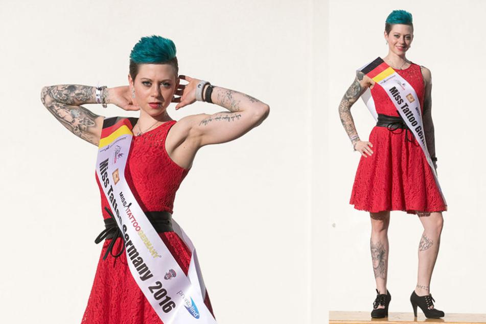 Miss Tattoo Germany Nina (29) schaute natürlich auch auf der Messe in Dresden vorbei.