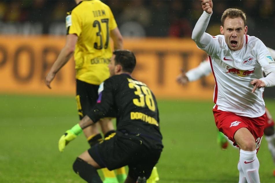 Palacios Martinez bejubelte sein Tor zum 1:1 im Bundesligaspiel von RB in Dortmund. Sein Treffer (90.+4) wurde wegen Abseitsposition jedoch nicht gegeben.