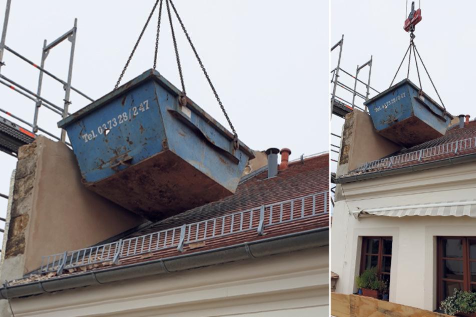 So riskant schwebte ein Container über dem Nachbarhaus. Die Bereiche darunter sind vermietet.