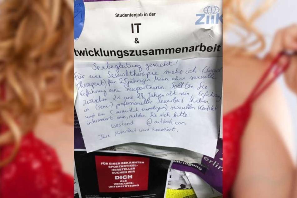 Dieser Aushang wurde angeblich am Schwarzen Brett der TU Berlin fotografiert und bei Notes of Berlin veröffentlicht.