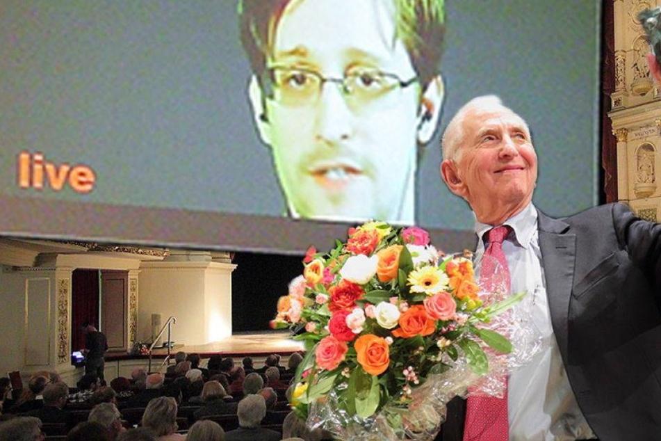 Snowden sprach heute live in der Semperoper!