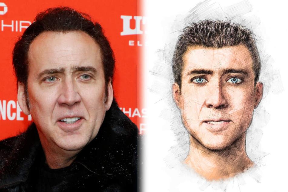 Nicolas Cage und das Phantombild des Gesuchten, der ihm zum Verwechseln ähnlich sieht.