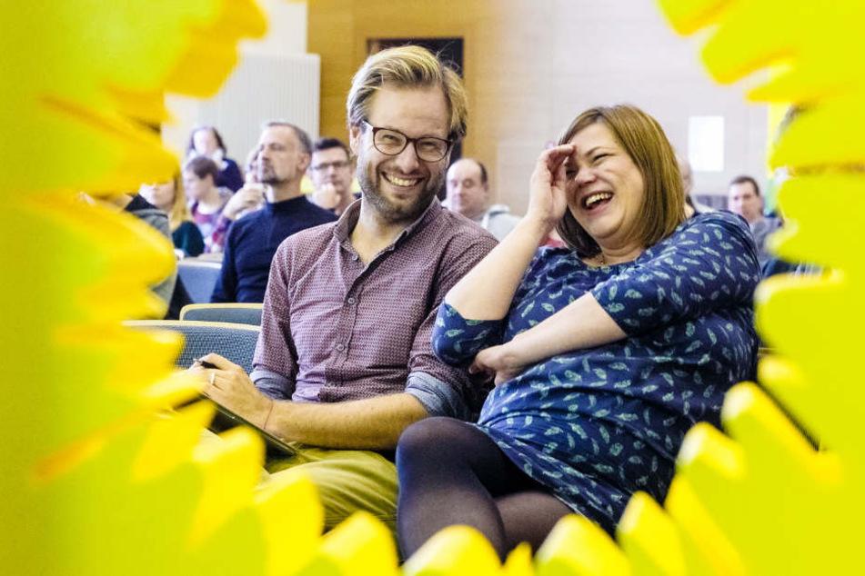 Anjes Tjarks (links), Fraktionsvorsitzender der Grünen in der Bürgerschaft, und Katharina Fegebank, Senatorin für Wissenschaft, Forschung und Gleichstellung sowie Vizebürgermeisterin können sich über den Zuspruch der Wähler freuen (Archivbild).