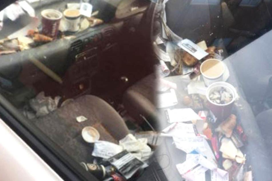 So verdreckt sah das Innere eines Lieferfahrzeugs aus.