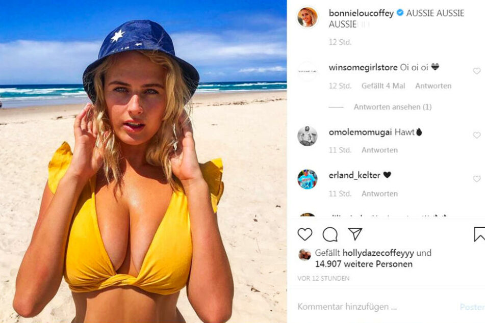 Bonnie-Lou Coffey setzt sich bei Instagram regelmäßig freizügig in Szene.