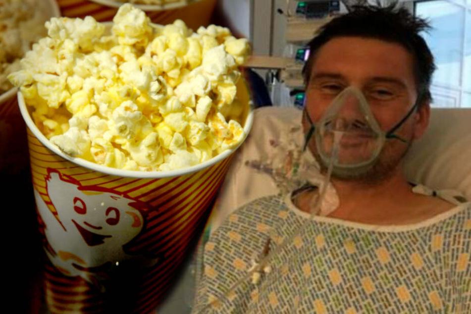 Weil er Popcorn zwischen den Zähnen hatte: Mann springt Tod nur knapp von der Schippe!