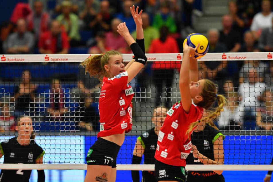 Nach der Pause in Potsdam sind die Auswahlspielerinnen Brie King (r.) und Camilla Weitzel am morgigen Samstag gegen Stuttgart wieder am Ball.