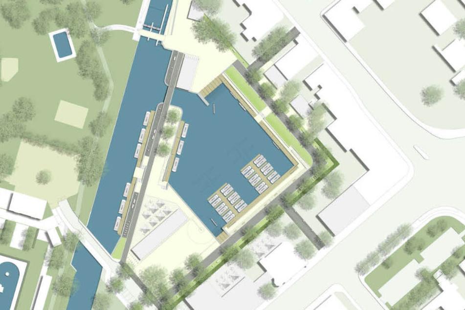 Der neue Stadthafen am Schreberbad soll 2023 in Betrieben genommen werden.