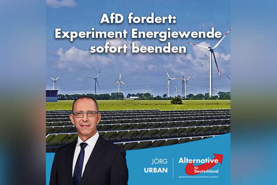 AfD-Chef Jörg Urban (55) wettert auch bei Facebook gegen die Energiewende.