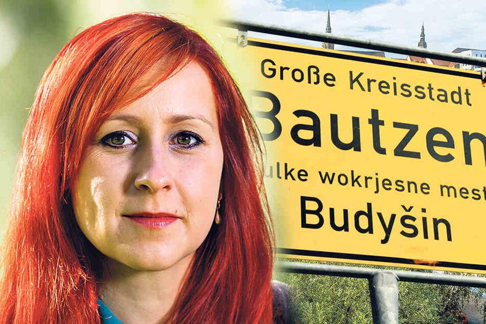 Angeblich kein Platz auf der Tafel: Der sorbische Ortsname ist kleiner. Grünen-Abgeordnete Franziska Schubert (34).